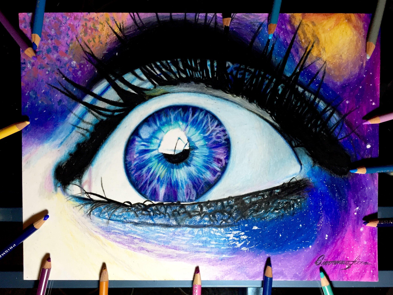 3000x2251 Realistic Galaxy Eye Drawing Timelapse
