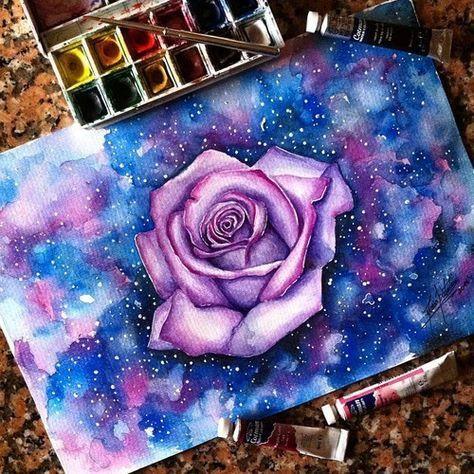 474x474 Art, Colors, Drawing, Flower, Galaxy, Pencil, Purple Pretty