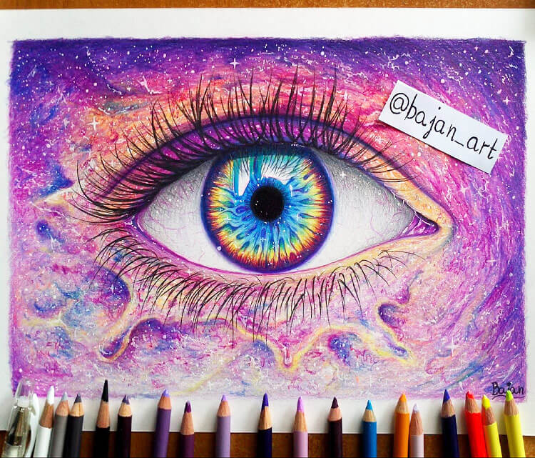 750x641 How To Color Galaxy With Colored Pencils