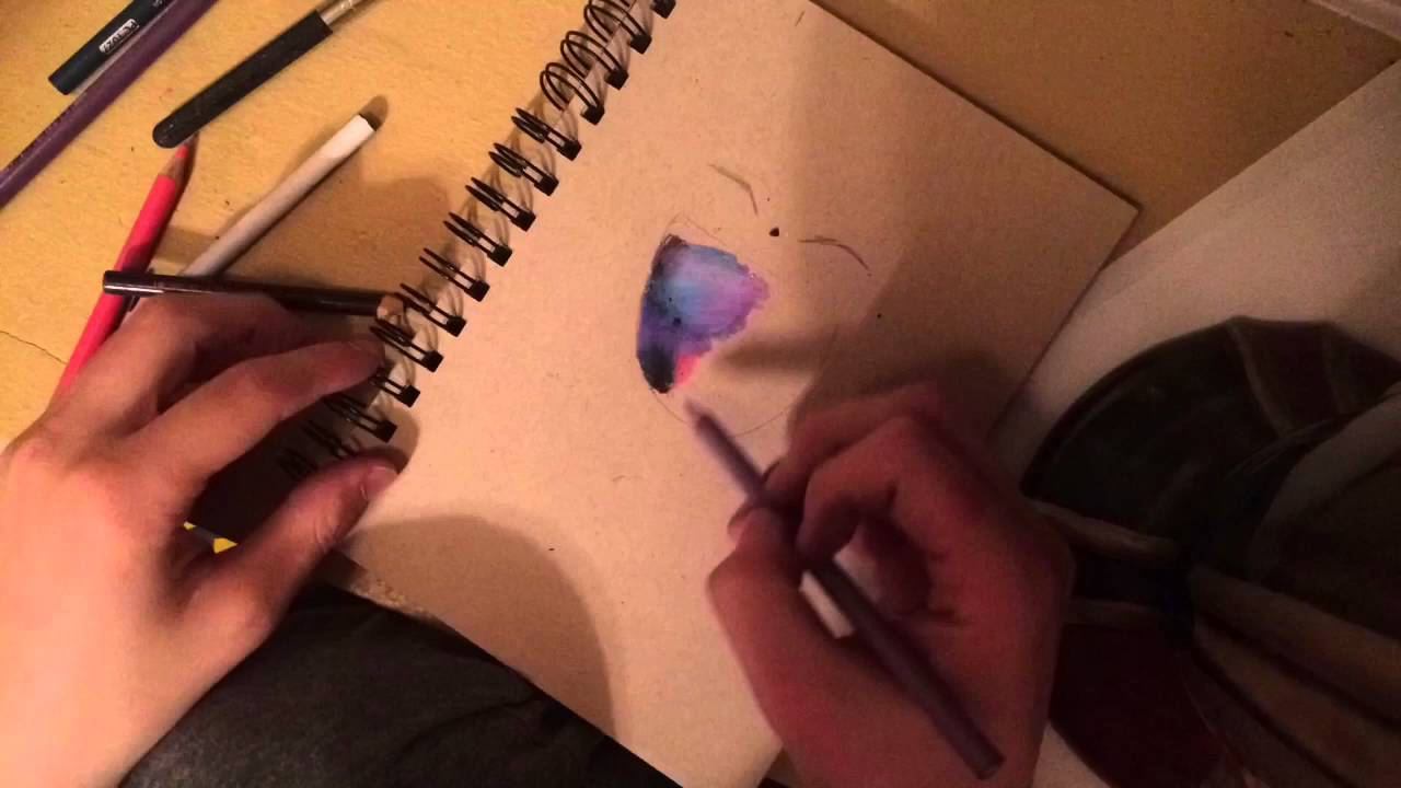 1280x720 How To Draw A Galaxy With Color Pencils