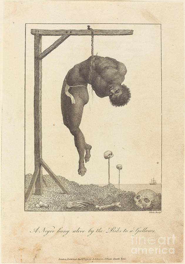 630x900 Negro Hung Alive By The Ribs To A Gallows Drawing By William Blake