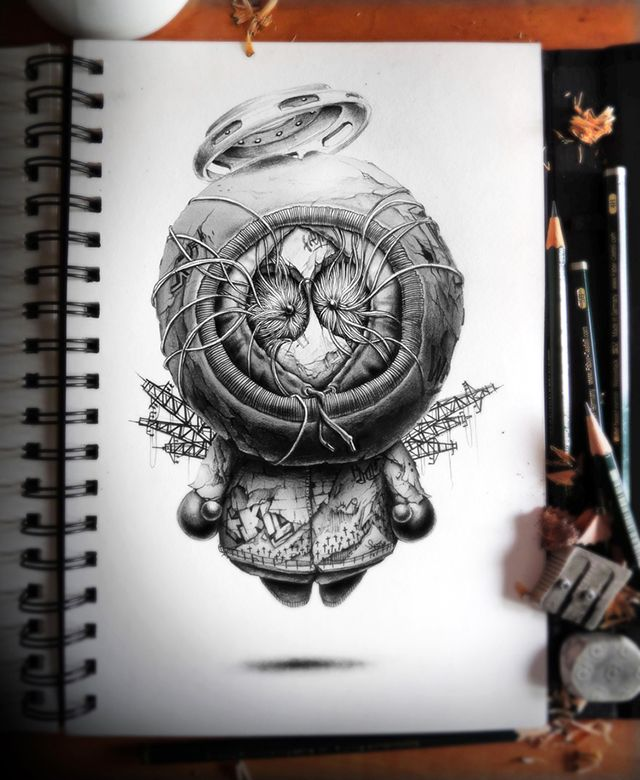 640x780 Distroy, Creepy Graphite Drawings Of Popular Cartoon Amp Video Game