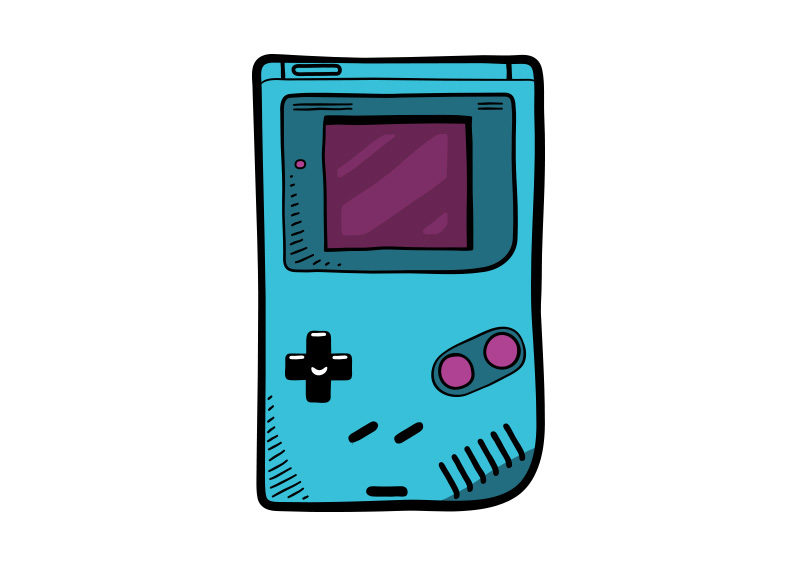 800x566 Boy Video Game Console Vector Drawing