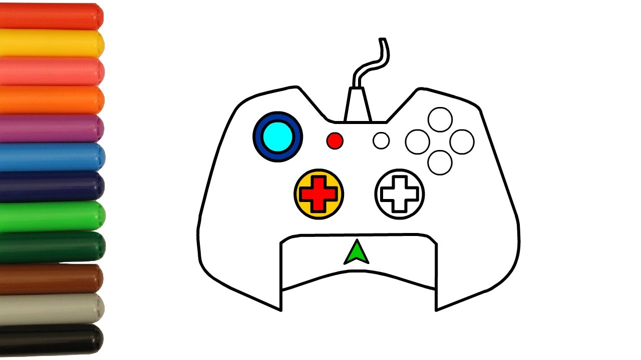 1280x720 Gamepad Coloring Pages For Kids How To Draw Game Joystick Art