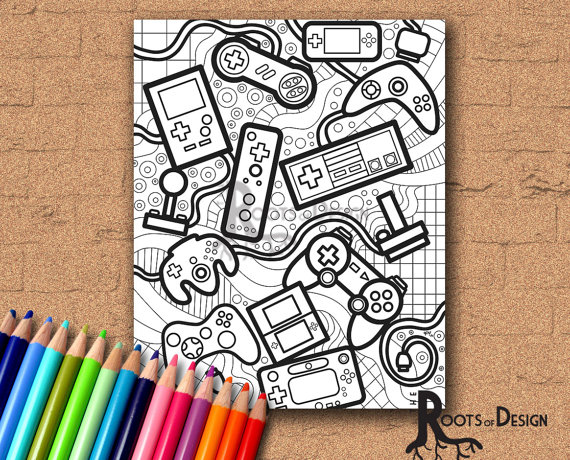 570x460 Instant Download Coloring Page Video Game Controllers