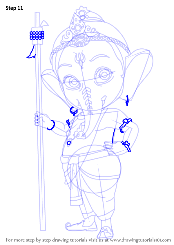 600x846 Learn How To Draw Bal Ganesh (Hinduism) Step By Step Drawing