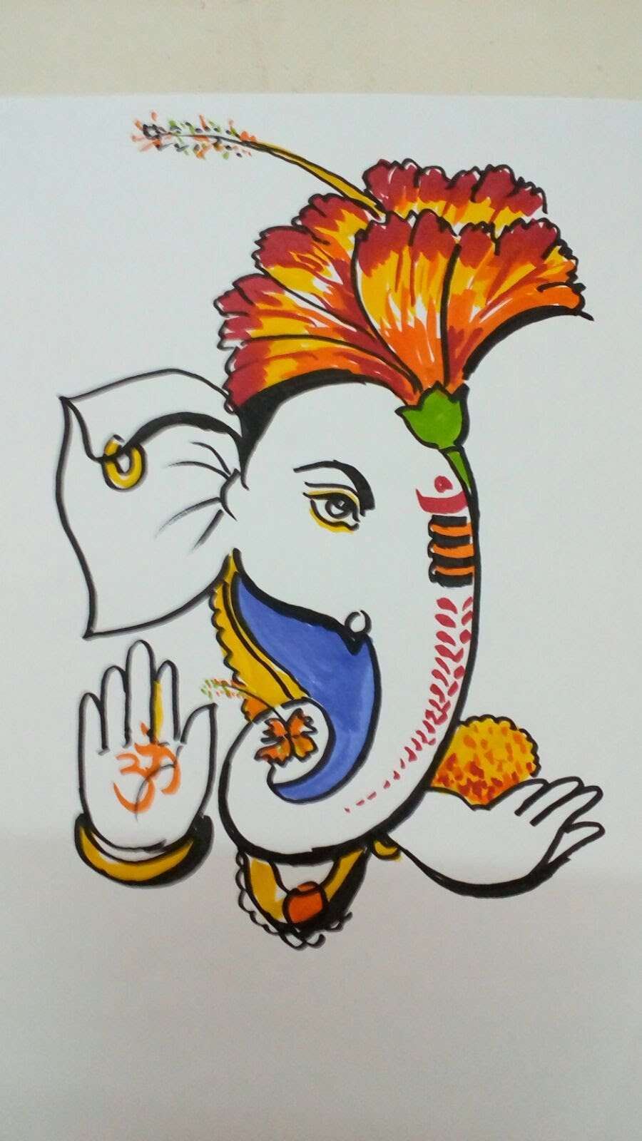 900x1600 Ganpati Drawing With Colour How To Draw Lord Ganesha Color Drawing