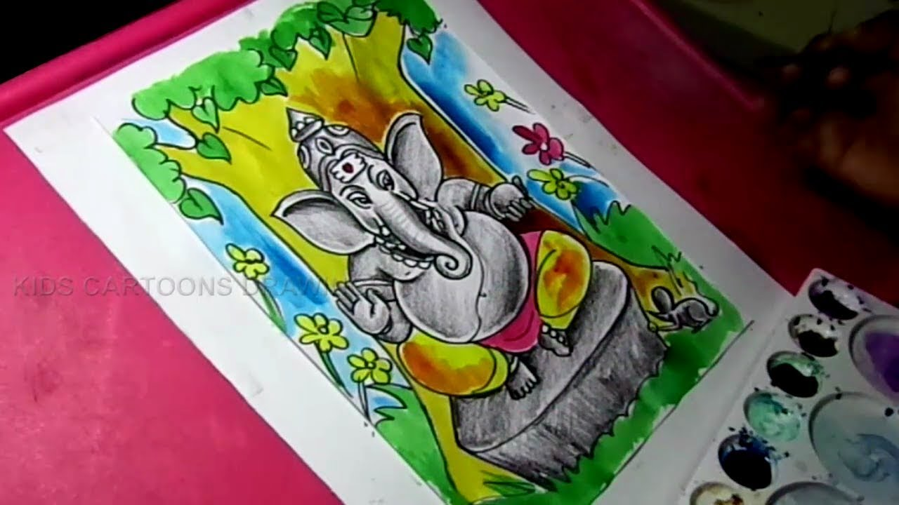 1280x720 How To Draw Lord Ganesha Color Drawing