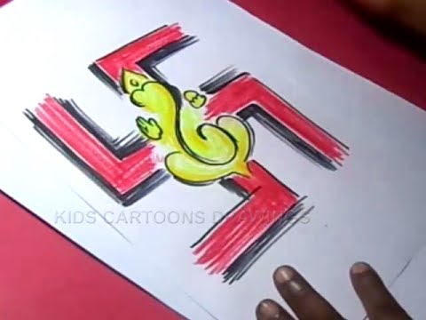 480x360 How To Draw Lord Swastik Ganesha Drawing For Kids Step By Step