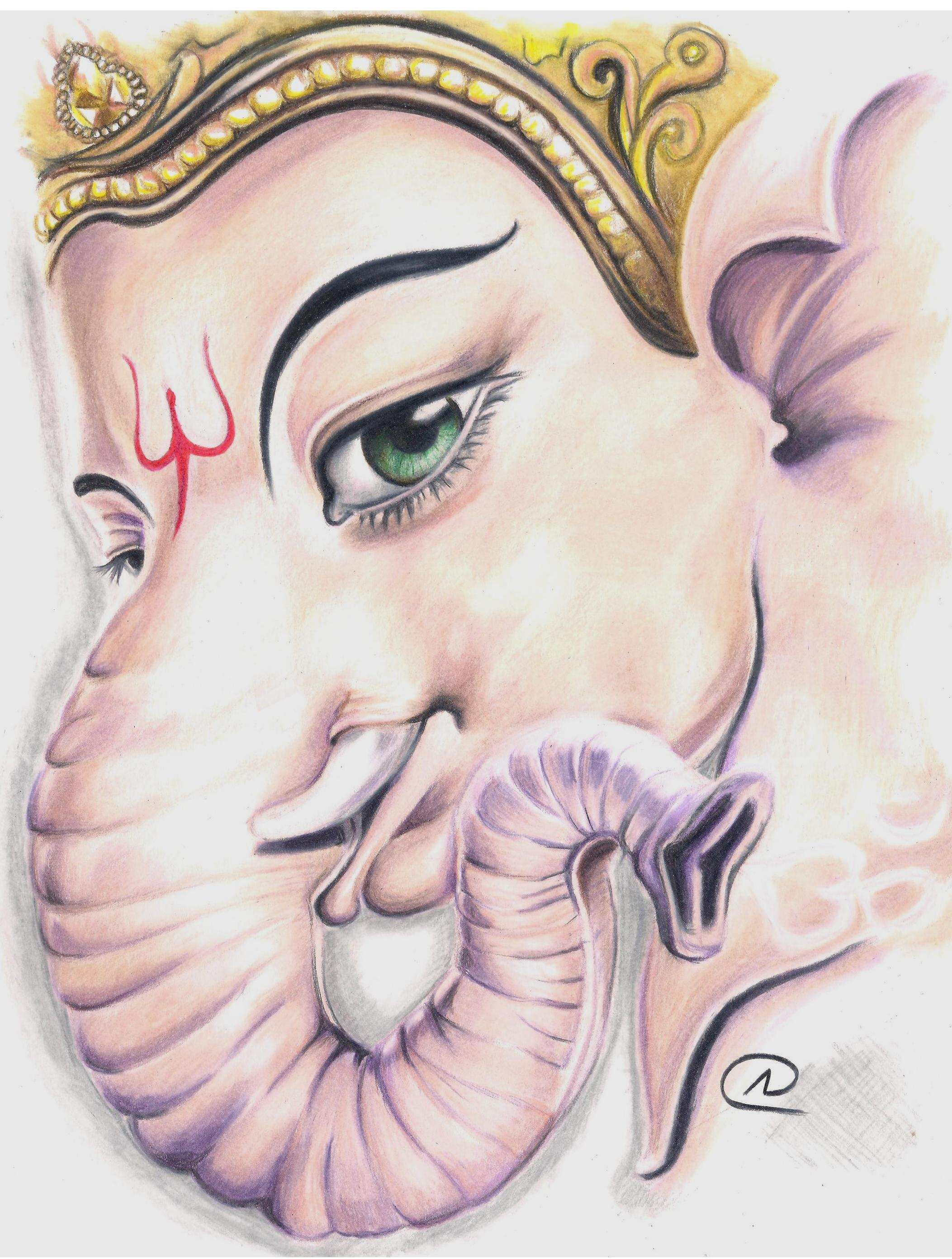 2105x2785 ganesh ji pencil painting colour pencil drawings of ganesha