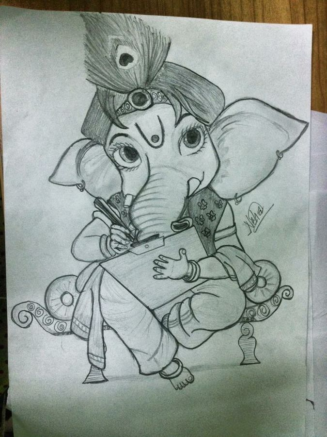 675x900 Ganesha Drawing Painting By Artist Neha Goud