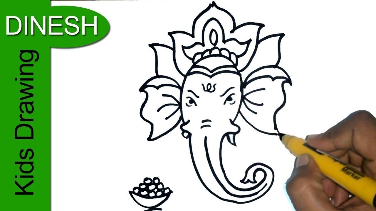 1280x720 How To Draw Ganesha Drawing For Kids, Easy Vinayaka