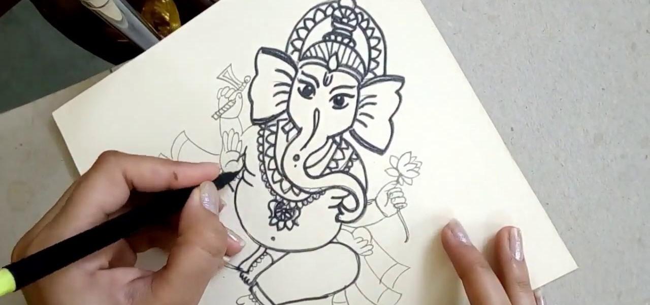 1280x600 How To Draw The Sitting Hindu God Ganesha, Step By Step Drawing