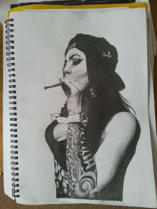 500x667 Pencil Drawing Gangster Girl Shared By Drug Dealer Girl