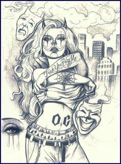 236x321 Gangster Girl Clown Drawings