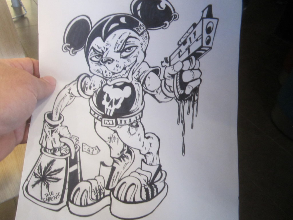 1024x768 Gangster Mickey Mouse By Darkriddle1