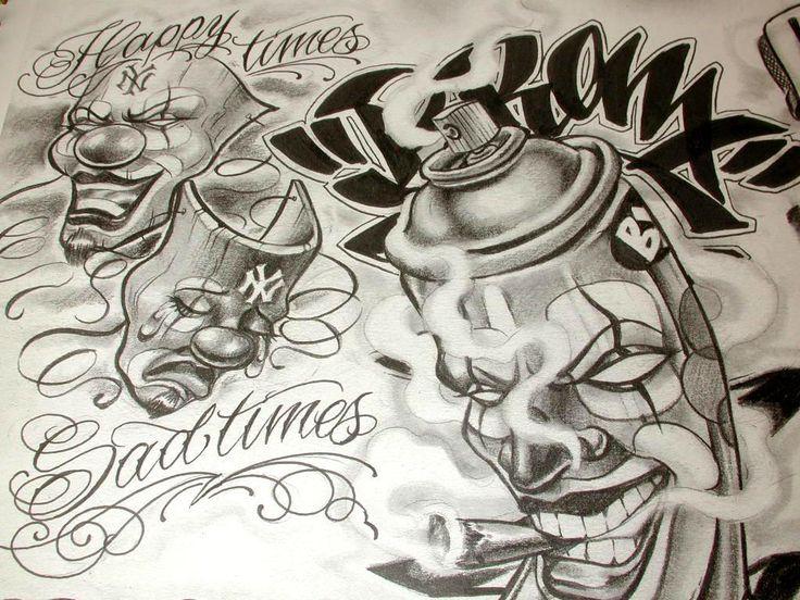 736x552 Free Tattoo Flash Sheets Boog Cartoon Gangster Chicano Tattoo