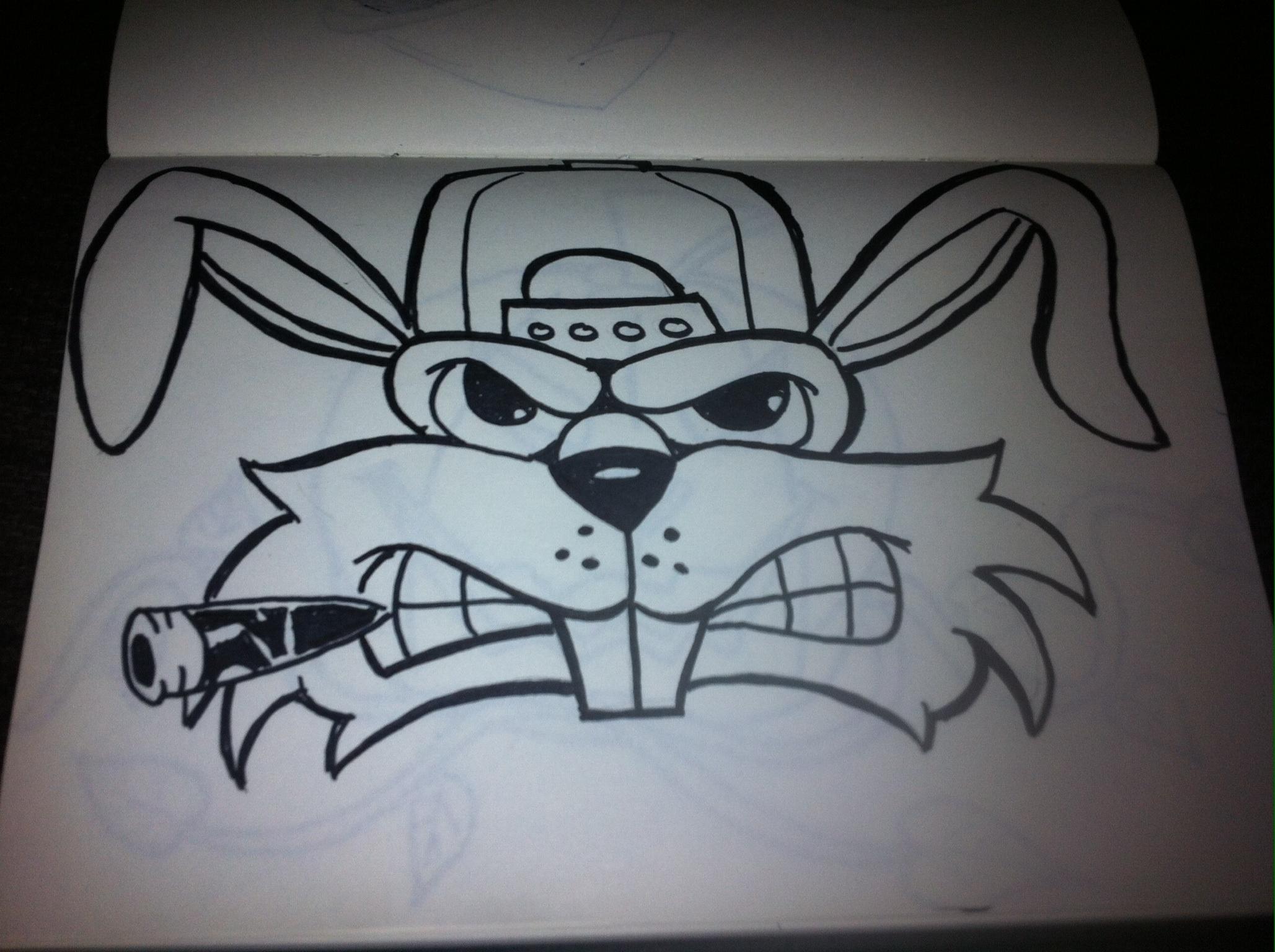 2057x1536 Gangster Cartoon Graffiti Gangster Rabbit Drawing