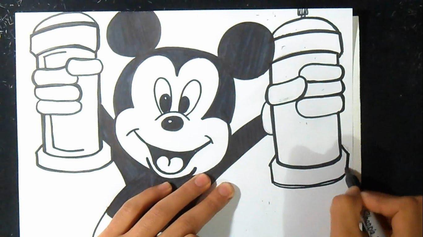 1366x768 Graffiti Drawing Of Spray Can An Mickey Mouse Graffiti Characters