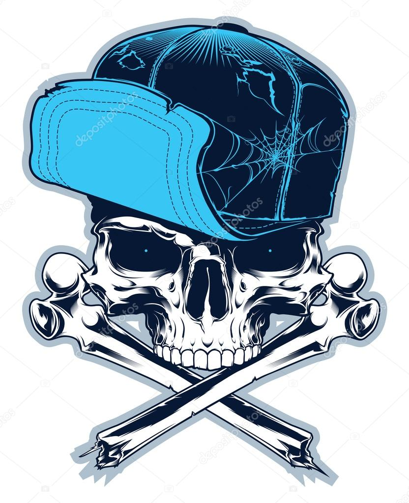 832x1024 Gangster. Skull With Cross Bones And Cap Stock Vector 4ek