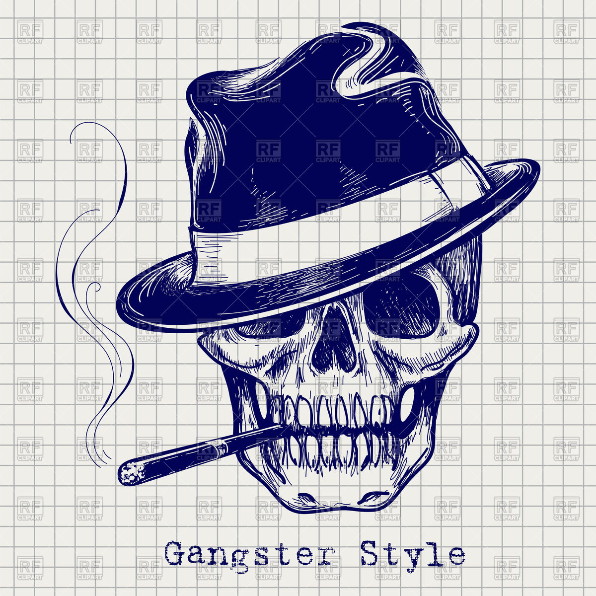 1200x1200 Sketch Of Gangster Skull With Hat And Cigarette Royalty Free