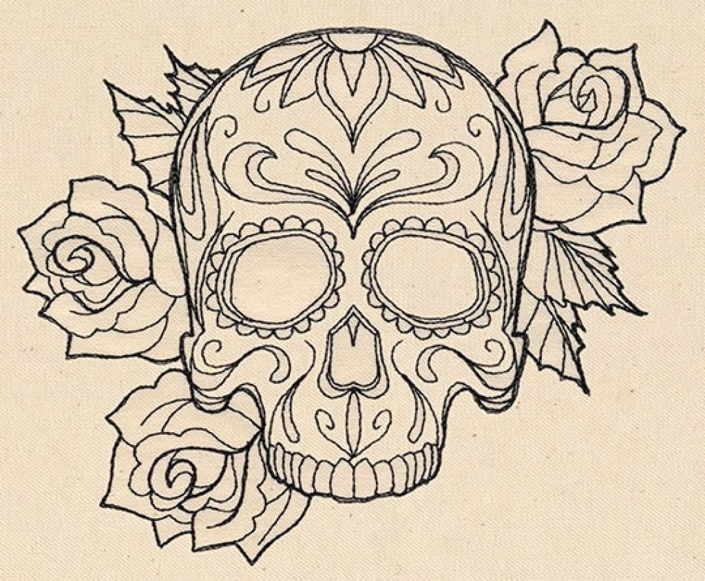 1024x843 Skull And Rose Ribbon Drawings Latest Gangster Skull Tattoos