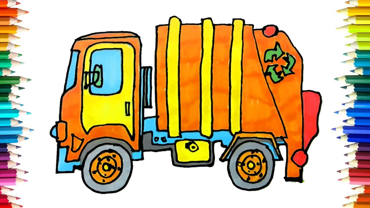 1280x720 How To Draw Recycle Truck Garbage Truck Drawing For Kids