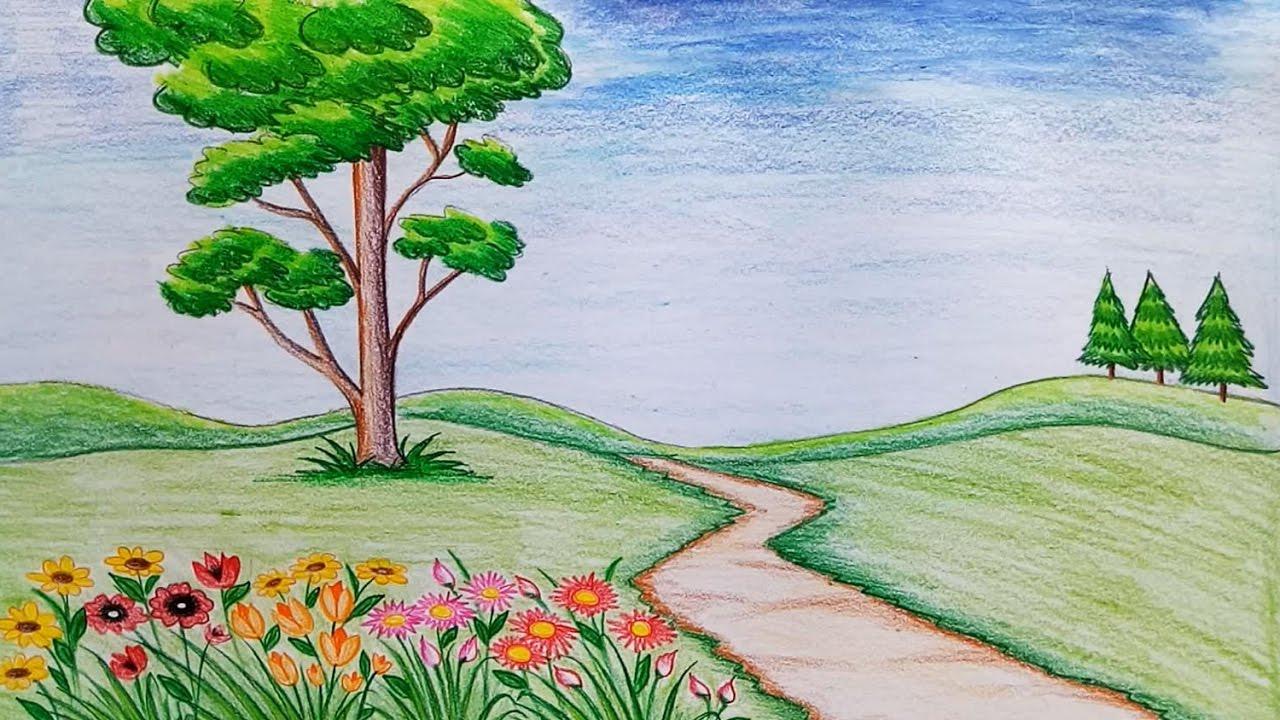 1280x720 How To Draw Flower Garden With Flowers How To Draw Scenery