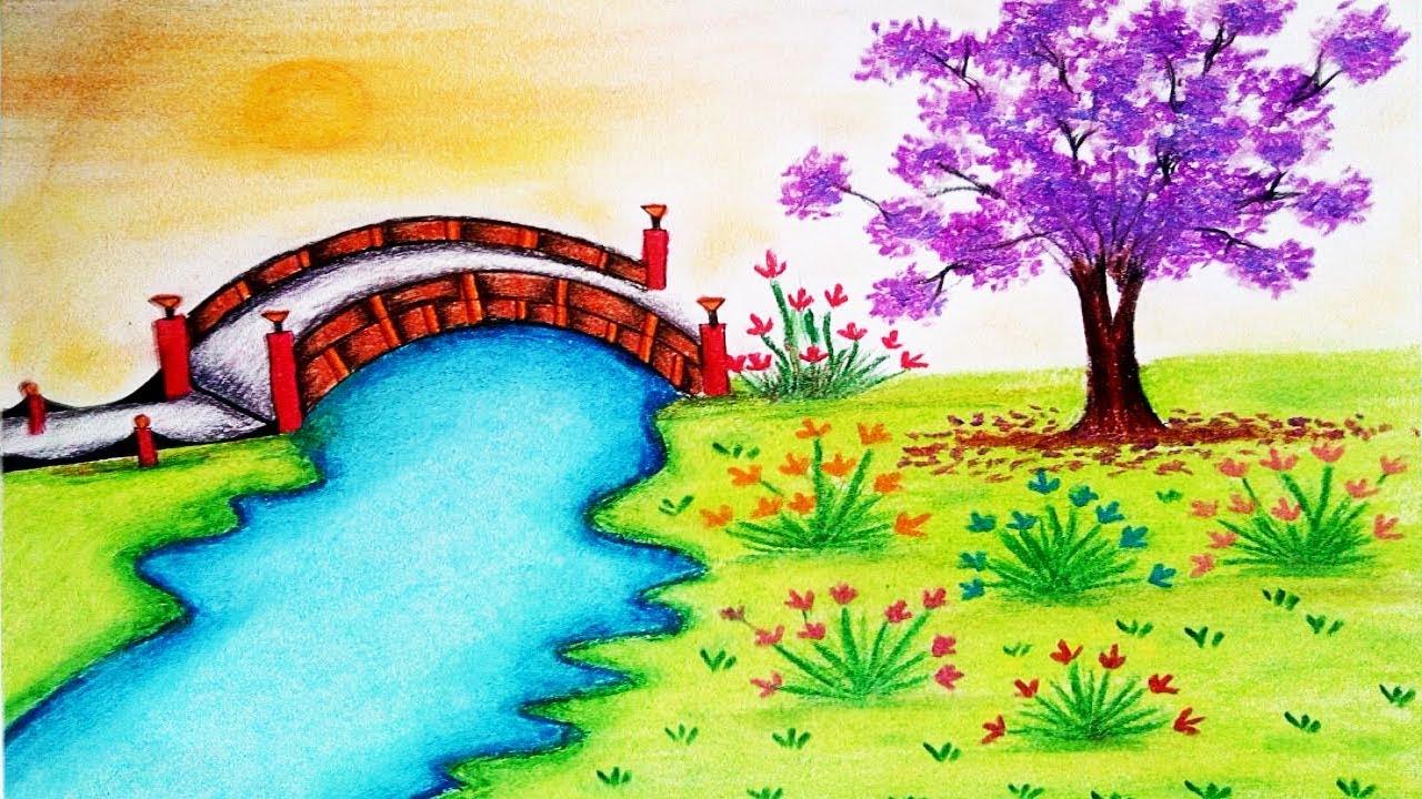 1280x720 How To Draw Garden Scenery Step By Step