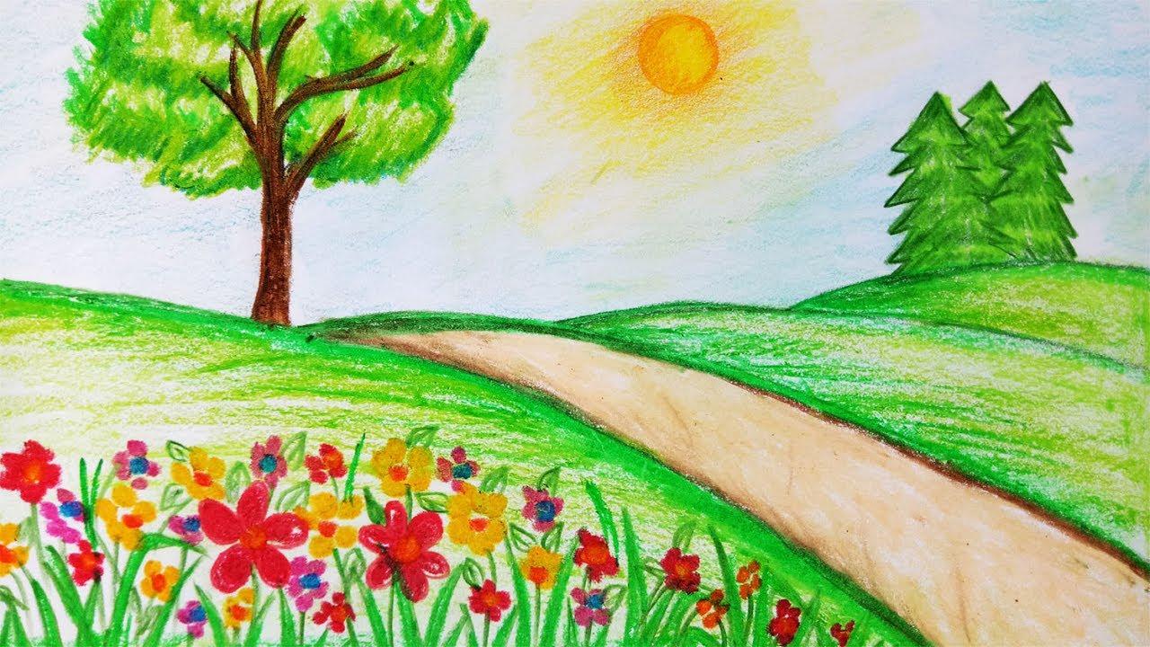 1280x720 How To Draw Garden Scenery.step By Step(Easy Draw)