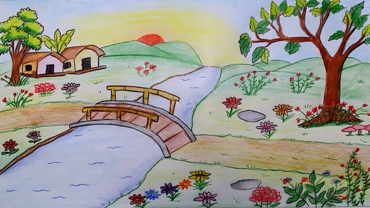1280x720 How To Draw Scenery Of A Flower Garden Step By Step
