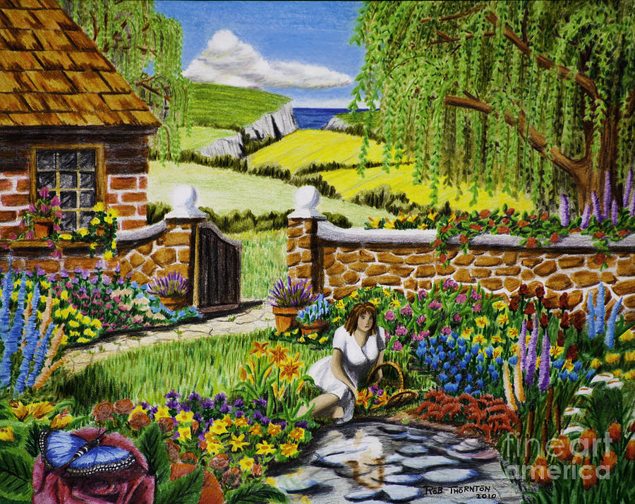 Garden Drawing at GetDrawings.com | Free for personal use Garden ...