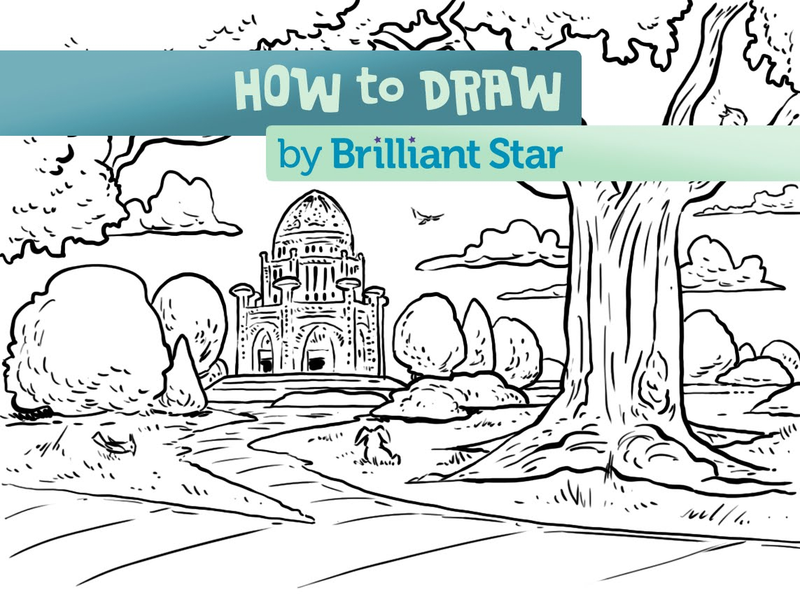 1143x857 Awesome How To Draw A Baha'I Temple Garden Episode 2 A Brilliant