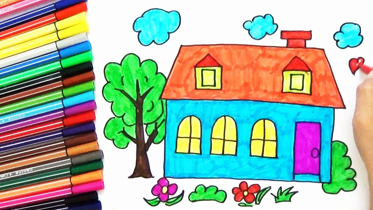 1280x720 How To Draw A House, Tree In The Garden For Kids