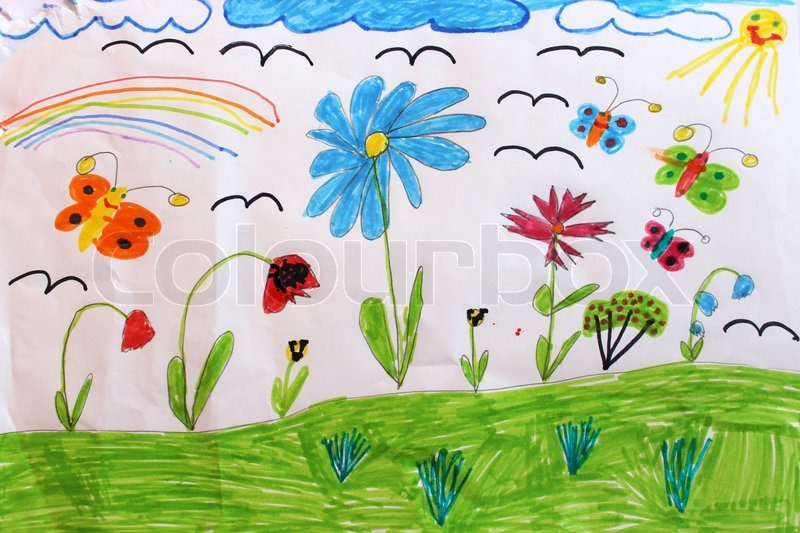 800x533 Children's Drawing With Butterflies And Flowers Stock Photo