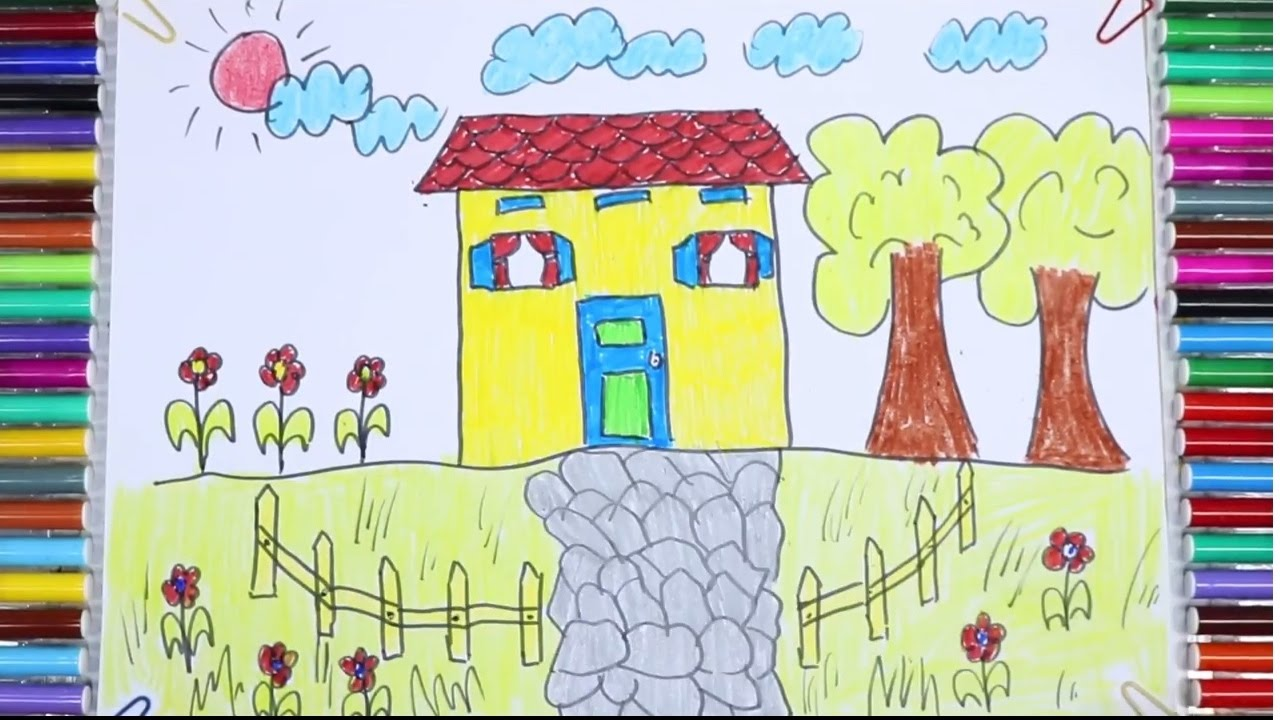 1280x720 How To Draw And Paint House, Tree In The Garden Teaching Drawing