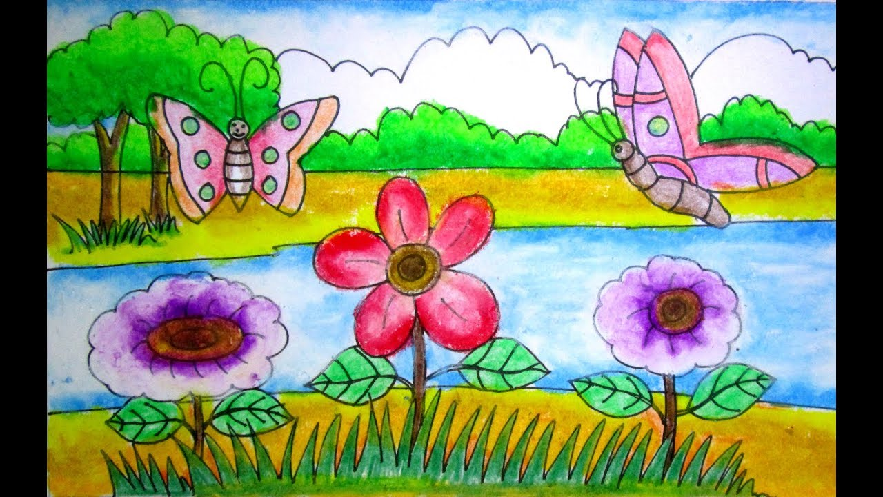 1280x720 How To Draw A Scenery Of Flower Garden For Kids