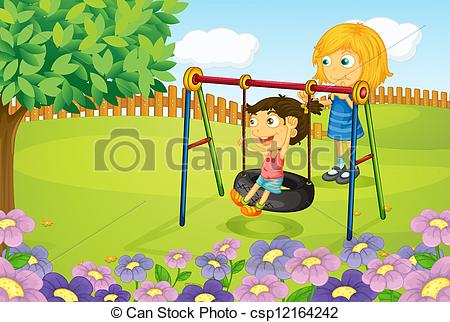 450x322 Illustration Of Kids Playing Swing In Garden Eps Vector