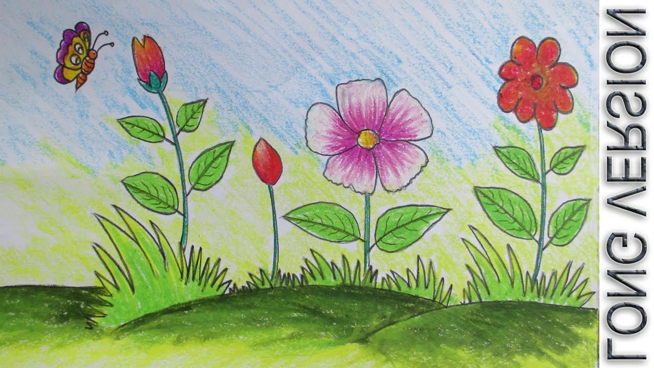 Flower Child Line Drawing : Garden flowers drawing at getdrawings free for personal use