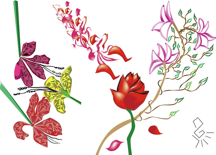 830x598 Garden Flowers Drawing By Tatiana Hallack