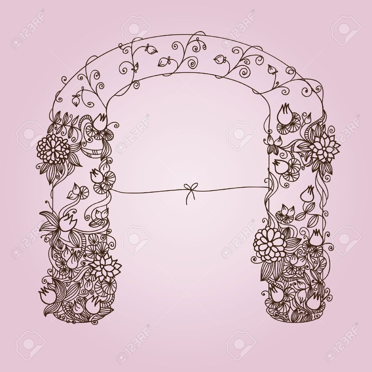 1300x1300 Hand Drawn Garden Gate With Welcoming Ribbon, Stylized Royalty