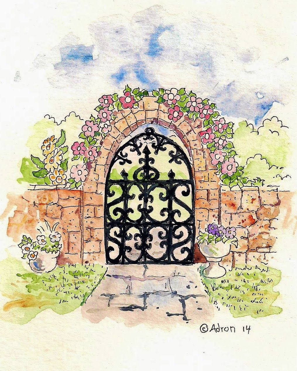 1015x1266 Illustration For How To Draw A Rustic Garden Gate. See More