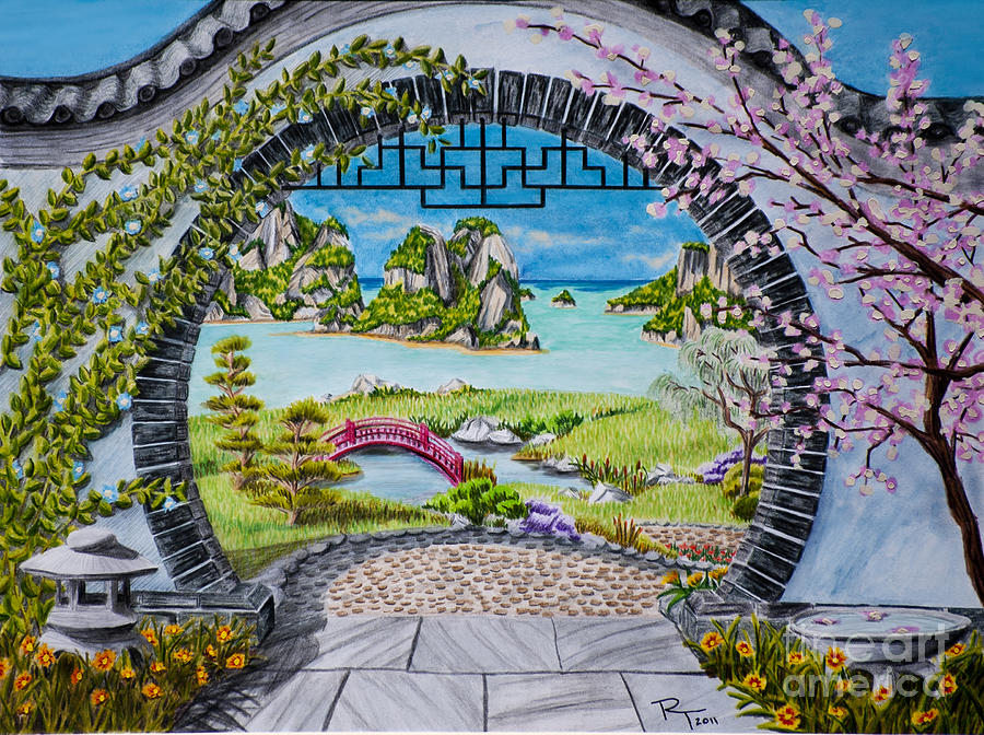 900x672 Moon Gate Drawing By Robert Thornton