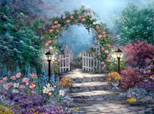 511x380 Painting Of Garden Gate Nature Flowers Art Drawing Garden Painting