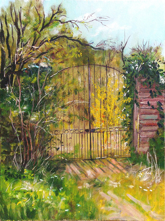 570x762 Painting Wall Art Oil On Hardboard Old Gate Drawing Rusty Gate