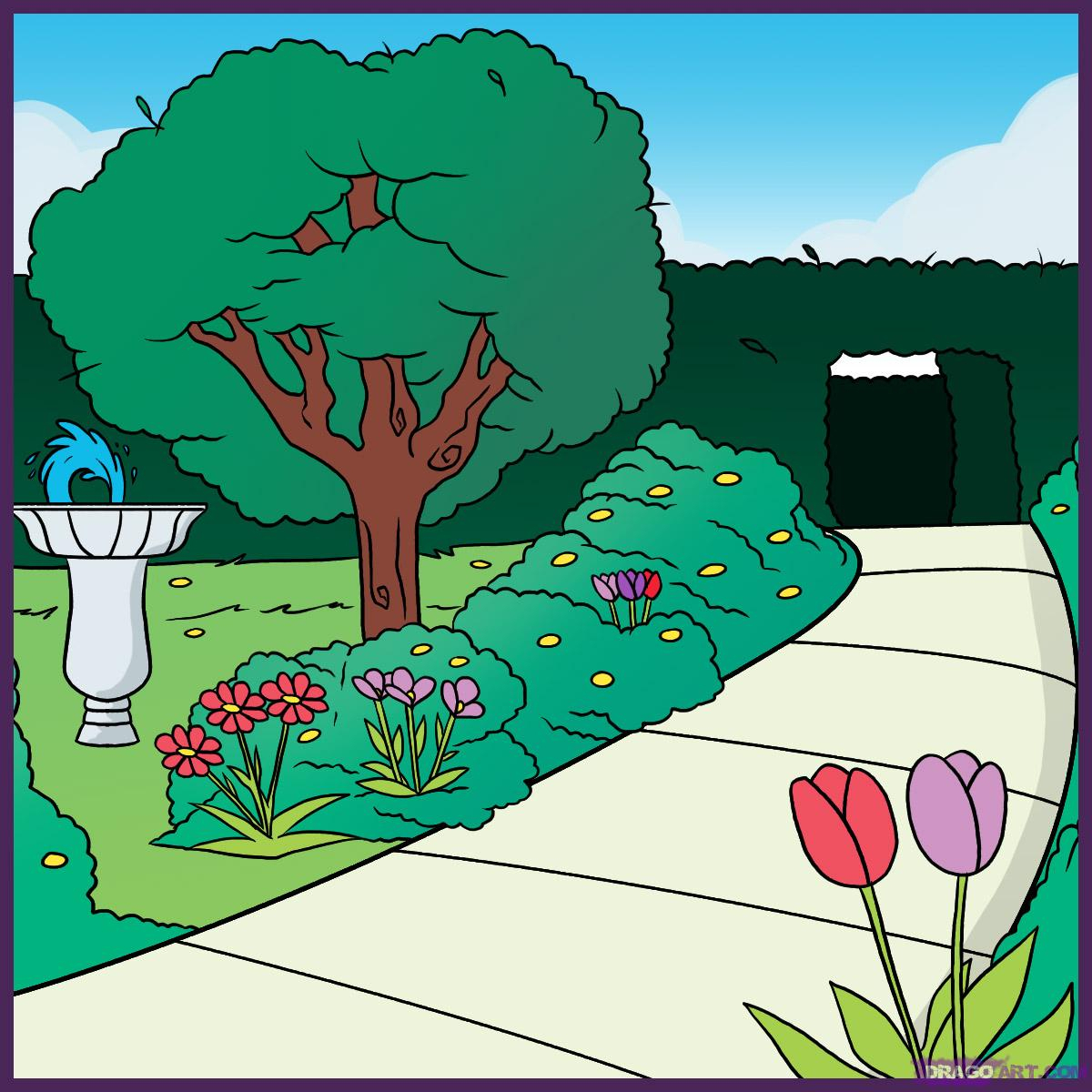 1200x1200 Delightful Easy Garden Drawing Pictures How To Draw A Garden