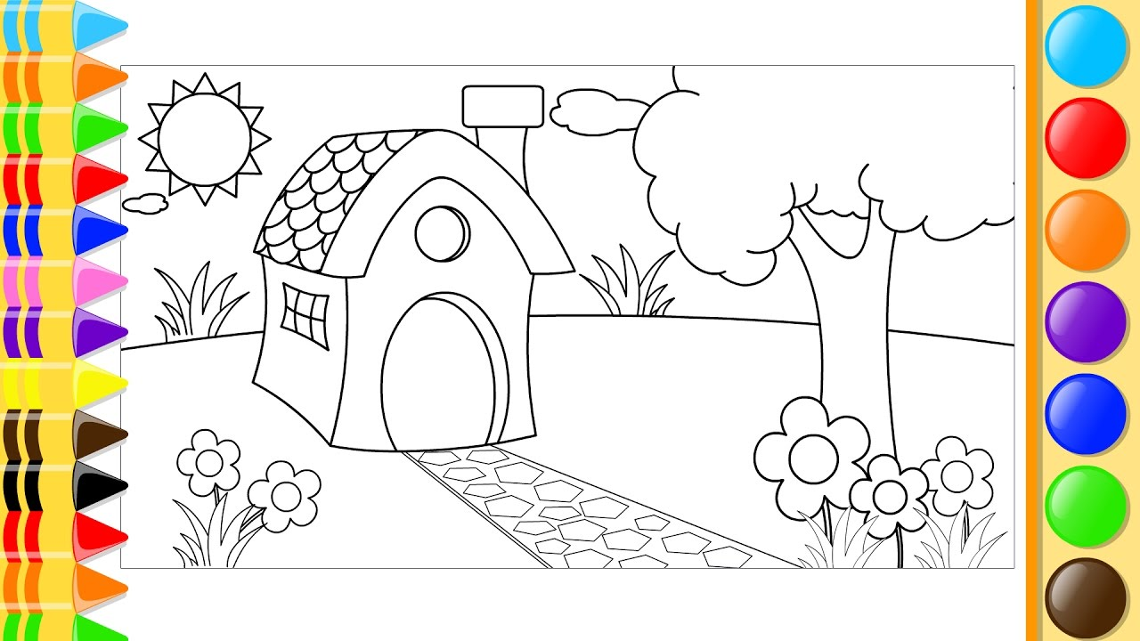 1280x720 How To Draw And Color House, Trees And Flowers In The Garden
