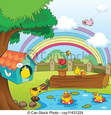 450x466 Illustration Of Birds In Beautiful Garden And Rainbow Vector