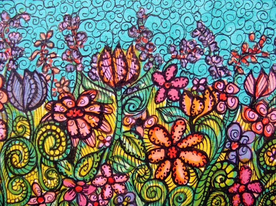 900x673 Imaginary Garden Drawing By Gerri Rowan