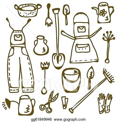 450x470 Gardening Tools Drawing Vintage Drawing Gardening Tools Garden